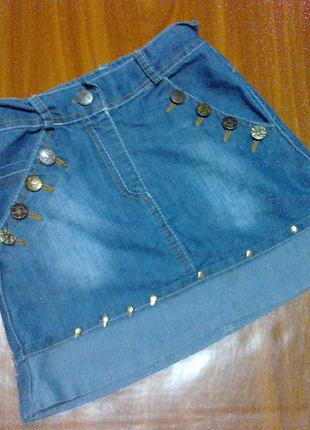 Джинсовая юбка на 6-7 лет , юбочка , модная , стильная