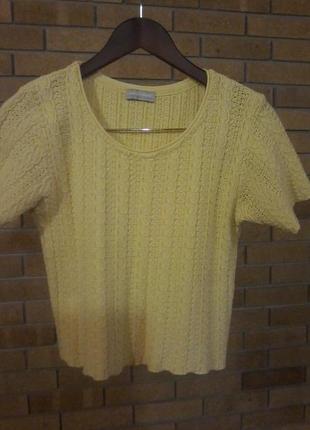 Желтый цвет нового 2019г фактурный вязаный топ блуза ждемпер с коротким рукавчиком