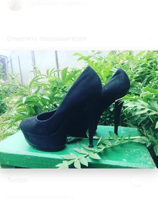 Туфли чёрные из эко-замши