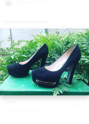 Туфли чёрные эко-замш