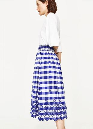 Zara юбка миди в клетку с вышивкой, м2 фото