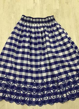 Zara юбка миди в клетку с вышивкой, м4 фото