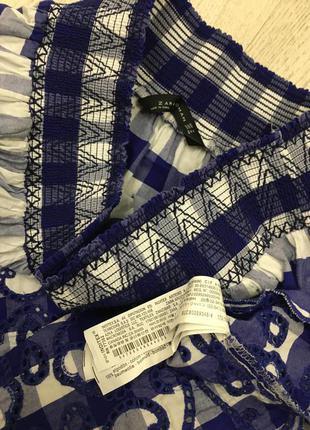 Zara юбка миди в клетку с вышивкой, м5 фото