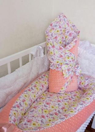 Набор кокон гнездышко одеялко конверт на авыписку для девочки
