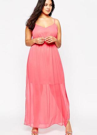 Замечательное шифоновое летнее платье в пол 16 размера