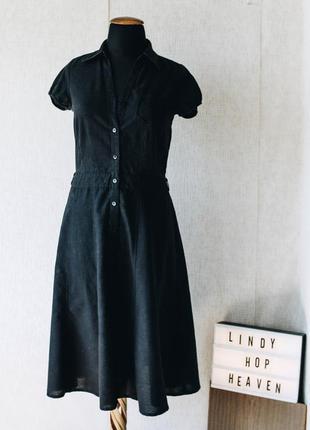 Расклешенное полусолнце чёрное ретро платье из натуральной ткани