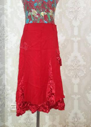 Распродажа!!! красивая, яркая, летняя юбка (вставки жатки)!!!