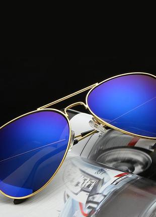 """Синие солнцезащитные очки """" капелька """" в стильной оправе авиатор"""