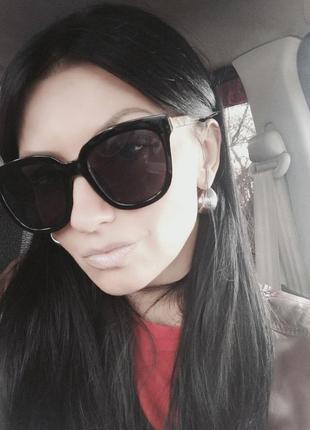 Черные модные солнечные очки оправа золото квадратные uv400