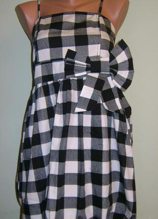 Нове платье в клеточку с бантом, для подростка 12-13 лет