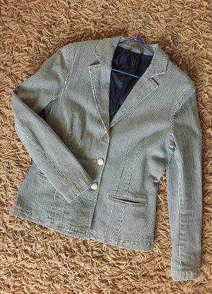 Стильный полосатый джинсовый пиджак. винтаж. marks&spenser. р.10 (наш 46)