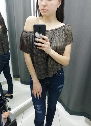 Блуза с голыми плечами летняя zara