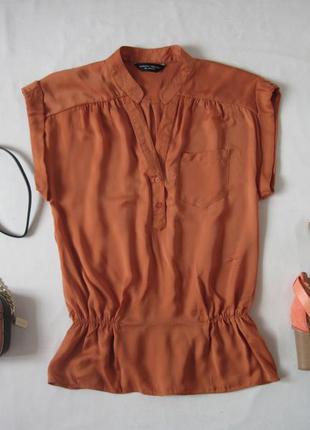 Блуза свободный крой блузка короткий рукав внизу на резинке верх на пуговицах