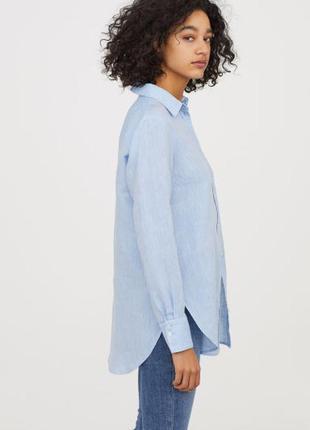 Удлиненная  хлопковая голубая рубашка h&m