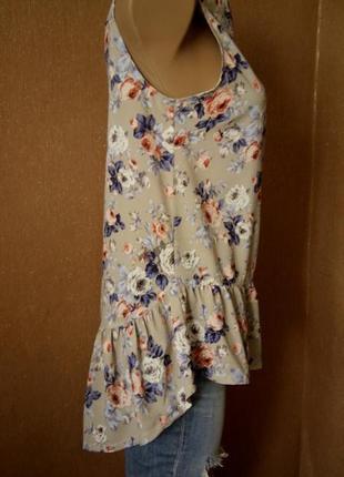 Рубашка в цветочный принт с воланом boohoo