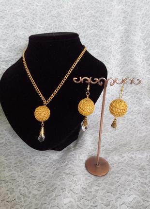 """Комплект украшений """"золотые капли"""", кулон,бусы, сережки"""