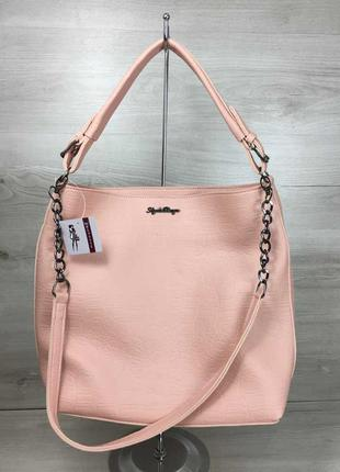 Сумка женская шоппер на плечо розовая пудра с тиснением