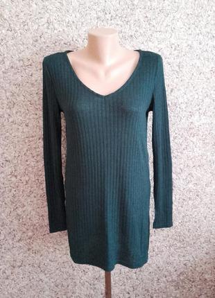 Зеленый базовый пуловер, джемпер от h&m ! размер s -m