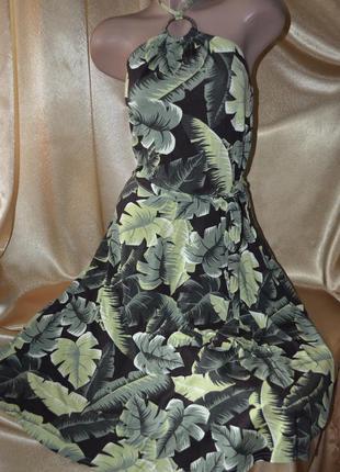 Сарафан цветной , зеленый , тропический принт - листья