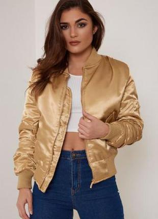Куртка бомбер трендовый цвет золотой металлик