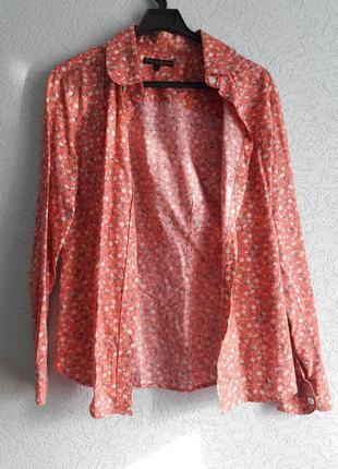 Персиковая рубашка в цветочек