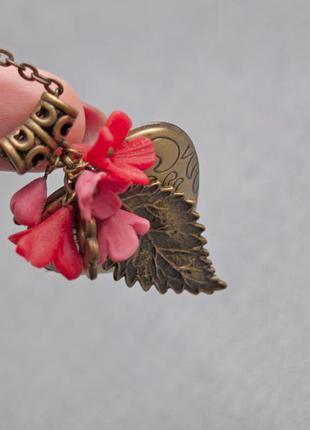 Медальйон с цветами для фото кулон  подвеска сердце любовь для нее