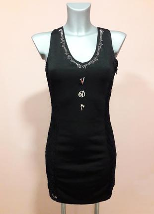 Платье с кружевом, гипюром vdp - club размер м.