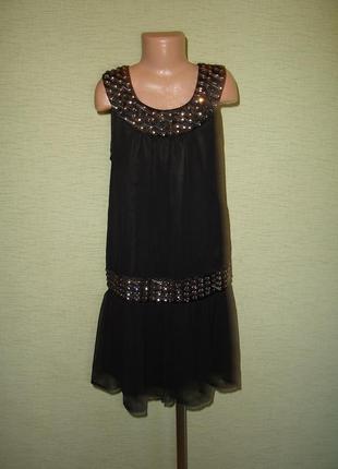 Черное коктейльное платье debenhams на 12 лет, сделано в индии, ворот вышит