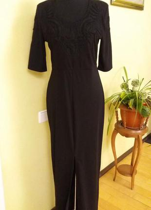 Нарядное.новогоднее. длинное черное платье  с кружевом  от  h&m раз.10-12 (пог 46)