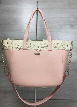 Розовая сумка шоппер большая через плечо корзина с бежевыми цветами