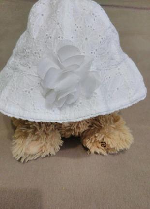 Белоснежная панамка/шляпка с цветком/ажурная, кружевная/хлопок/1-2 года/f&f