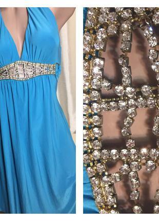 Нарядное платье трикотажное вечернее платье  яркая бирюза со стразами на поясе