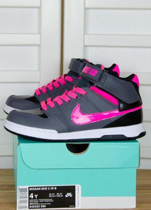 Nike sb kids mogan mid 2 jr серые с розовым и черным кроссовки высокие найк типа джордан