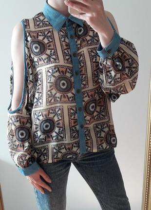 Рубашка в орнамент с джинcовыми вставками рр 14