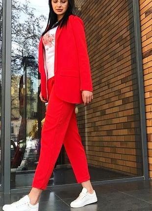 Красный коралловый классический брючный костюм удлиненный пиджак жакет5