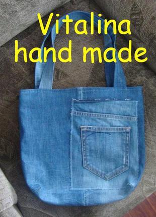 Джинсовая сумка-торба на лето ручная работа много джинсовых сумок