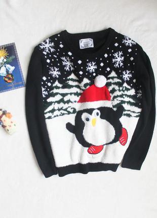 Новогодний свитер с пингвином от atmosphere, размер м-l 🎄