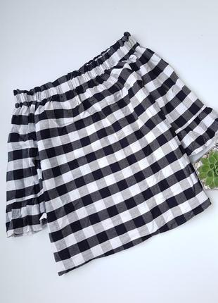 Хлопковая блуза в клетку со спущенымы плечами