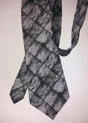 Фирменный люкс галстук, шелк, ручная работа, серый, черный, серебро, италия, yilu