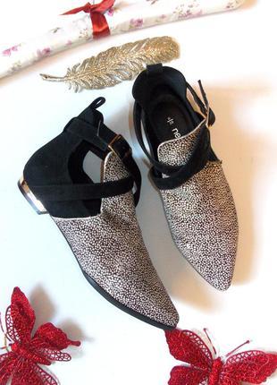Ботинки туфли на низком каблуке челси леопардовые замшевые