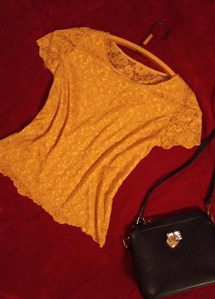 Стильная гипюровая,кружевная кофточка, блузка,топ прямого свободного покроя