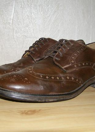 Мужские кожаные туфли - броги от geox respira 42,5 размер,28 см, оригинал
