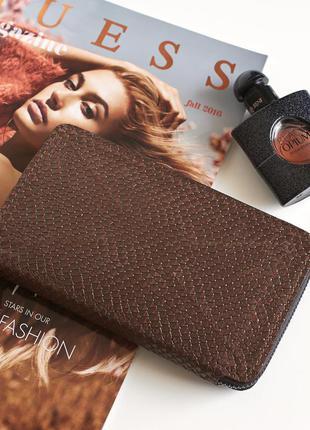 Коричневый женский кошелек, кожаный портмоне
