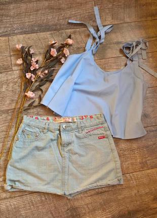Стильная мини джинсовая юбка от leecooper/голубая с необраб. низом