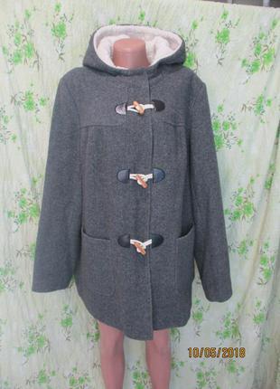 Стильное пальто-куртка с капюшоном/демисезон/батал/большой размер 20/ 52-54