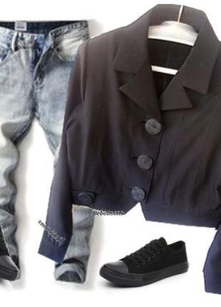 Стрейчевый пиджак с большими пуговицами размер 46-48