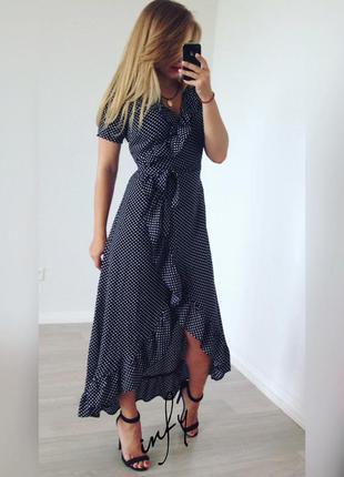 Платье с рюшами в горох короткий рукав