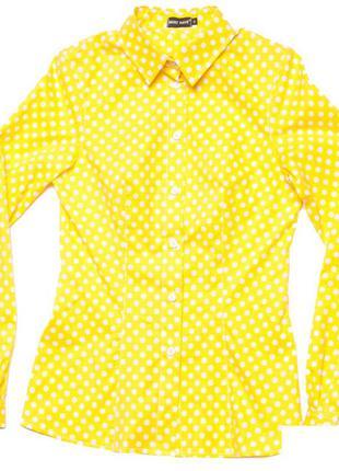 Желтая рубашка принт горохи от musthave