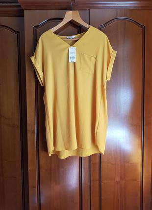 Яркая блуза рубашка с коротким рукавом большого размера