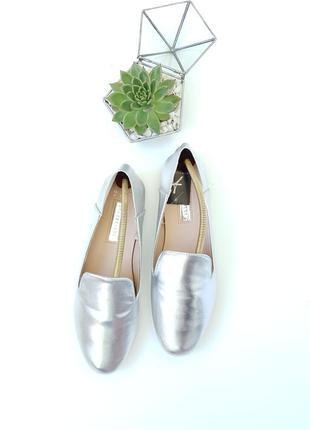 Стильные серебристые мюли балетки туфли